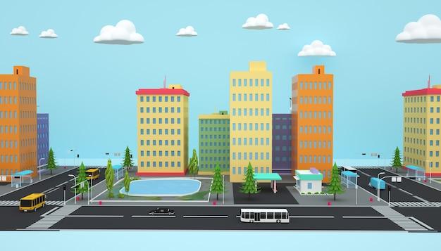 3d-weergave van isometrische stadsappartementen bedrijfsconcept