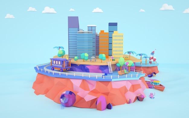 3d-weergave van isometrische stadsgebouwen op het eiland