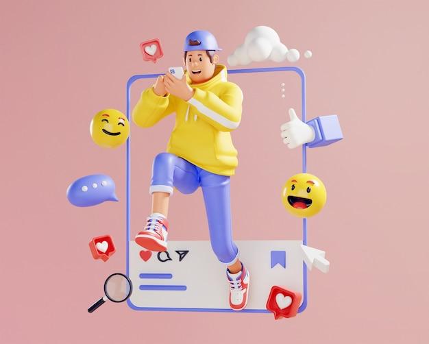 3d-weergave van jonge man verslaafd aan sociale media