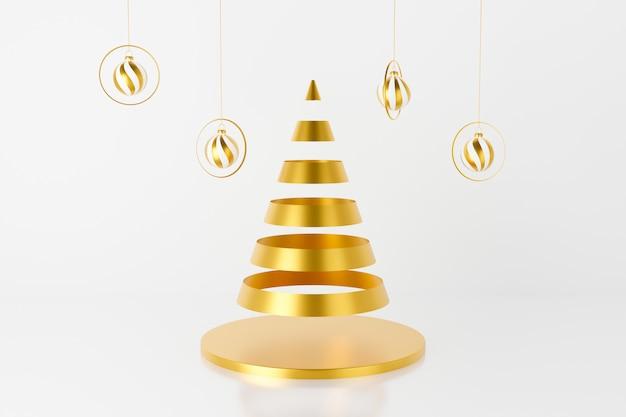 3d-weergave van kerstboom en snuisterij opknoping op lint 3d-rendering