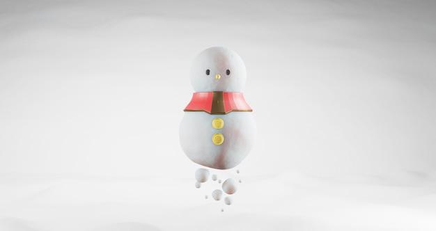 3d-weergave van kerstmis. sneeuwpop drijvend op sneeuw achtergrond, geïsoleerd op wit. abstract minimaal concept, minimalistische luxe