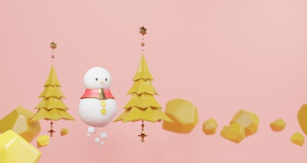 3d-weergave van kerstmis. sneeuwpop en gele kerstboom drijvend op roze achtergrond. abstract minimaal concept, minimalistische luxe