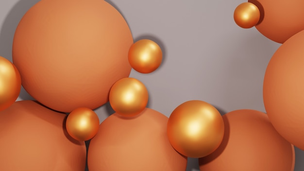 3d-weergave van kleurrijke ballen en gouden ballen voor productpresentaties achtergrond. voor showproduct. lege scène showcase mockup.