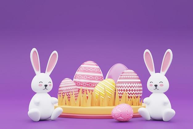 3d-weergave van kleurrijke paaseieren met konijntje op paarse achtergrond. gelukkig pasen-concept.
