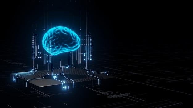 3d-weergave van kunstmatige intelligentie-hardware.