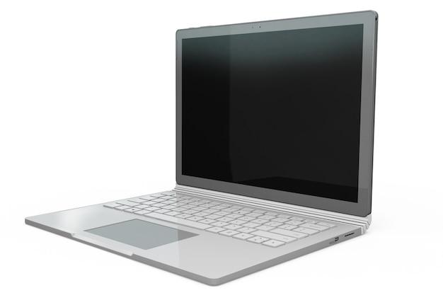 3d-weergave van laptop notebook mock up met witte achtergrond. technologiegadget voor hipster achtergrondconcept. hoge resolutie