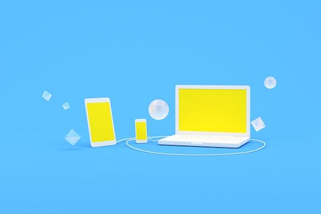 3d-weergave van laptopcomputer en smartphone met geel scherm, computersoftware en dienstenconcept.