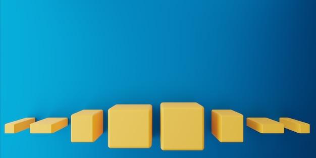 3d-weergave van leeg blauw geel abstract minimaal concept