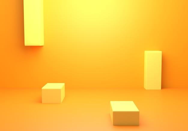 3d-weergave van leeg geeloranje abstract minimaal concept