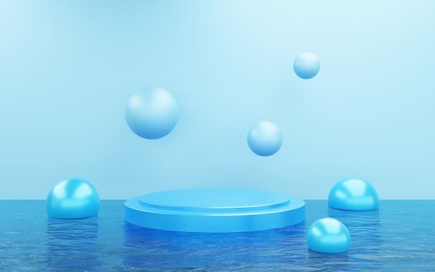 3d-weergave van lege blauwe podium abstracte minimale achtergrond. scène voor reclameontwerp, cosmetische advertenties, show, technologie, eten, banner, crème, mode, kind, luxe. illustratie. productweergave
