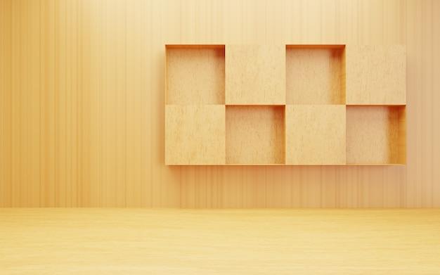 3d-weergave van lege bruine abstracte hout minimale concept achtergrond scène voor reclame