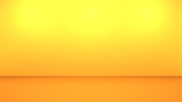 3d-weergave van lege geeloranje abstracte minimale achtergrond. scène voor reclameontwerp