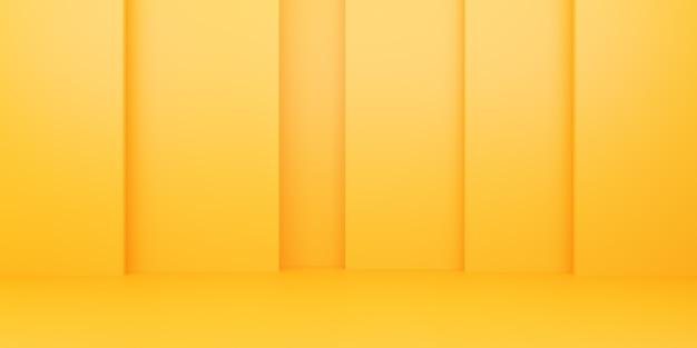 3d-weergave van lege geeloranje abstracte minimale achtergrond