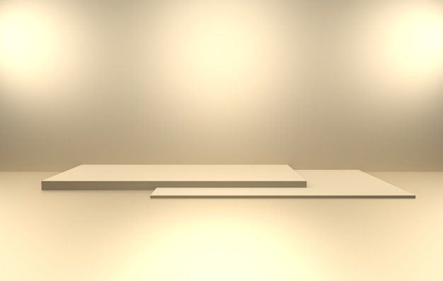 3d-weergave van lege gouden abstracte minimale concept achtergrond
