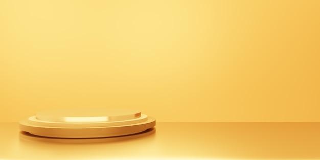 3d-weergave van lege gouden podium abstracte minimale achtergrond. scène voor reclameontwerp