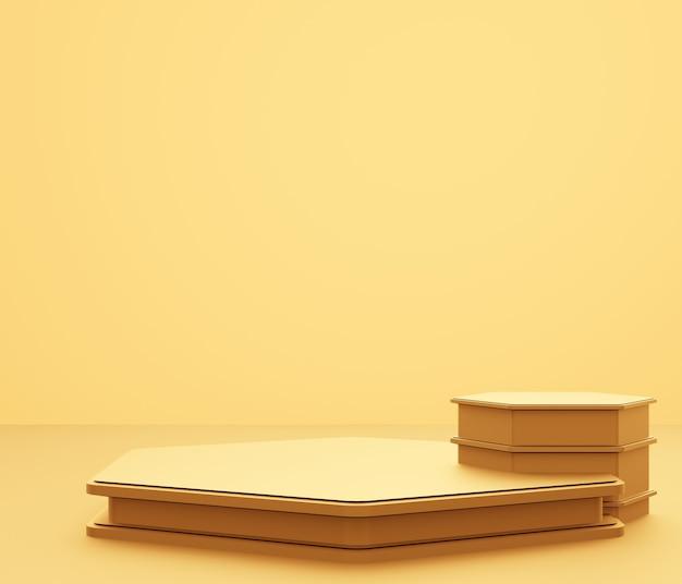 3d-weergave van lege gouden podium abstracte minimale achtergrond.