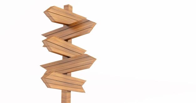 3d-weergave van lege houten wegwijzer geïsoleerd op een witte achtergrond