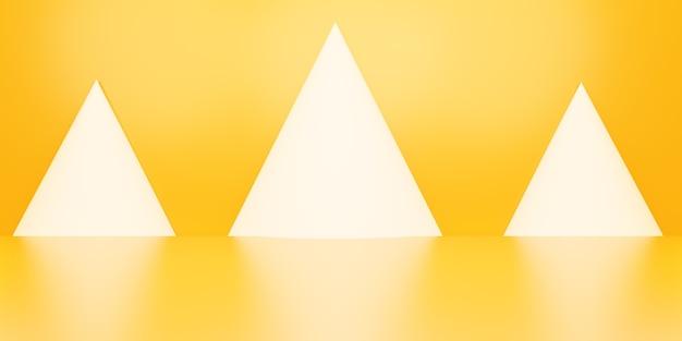 3d-weergave van lege oranje abstracte geometrische minimale concept achtergrond scène voor reclame