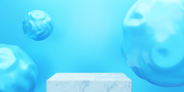 3d-weergave van lege podium minimale blauwe achtergrond scène voor cosmetische advertenties voor reclameontwerp
