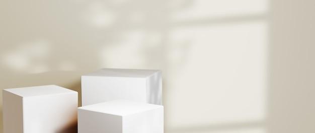 3d-weergave van lege productachtergrond voor decoraties voor achtergrondmode en crèmecosmetica. moderne lege podiumachtergrond voor luxeproduct.