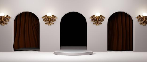3d-weergave van lege productachtergrond voor het weergeven van mode- en crèmecosmetica-decoraties. moderne podiumachtergrond voor luxeproduct.