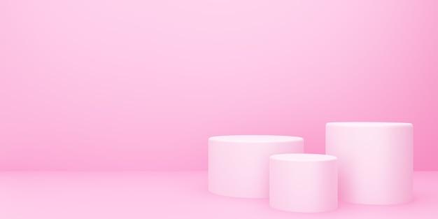 3d-weergave van lege roze podium abstracte minimale achtergrond. scène voor reclameontwerp, cosmetische advertenties, show, technologie, eten, banner, crème, mode, kind, luxe. illustratie. productweergave