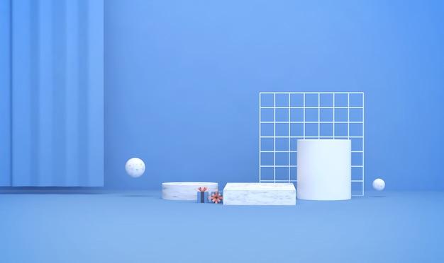 3d-weergave van lichtblauwe achtergrond met geometrische podium voor productvertoning