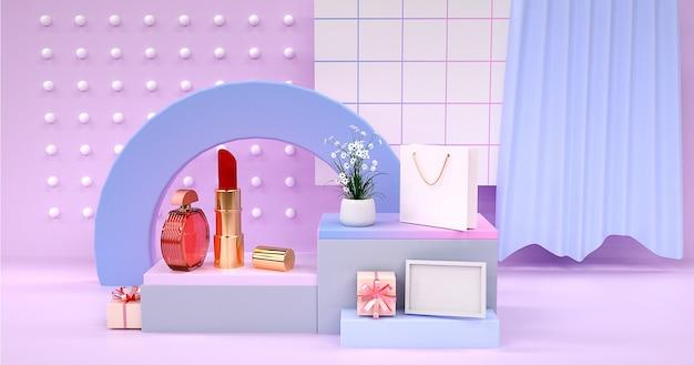 3d-weergave van lippenstift met podium voor productvertoning
