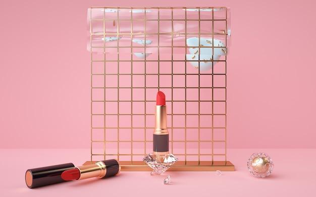 3d-weergave van lippenstiftproduct met gouden voetstuk op roze