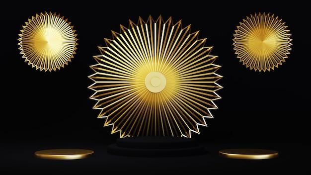 3d-weergave van luxe gouden ring wigh ontwerp binnen op zwarte achtergrond