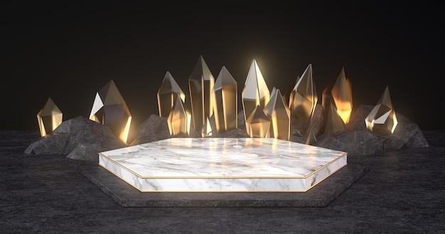 3d-weergave van marmeren podium en gouden kristal.