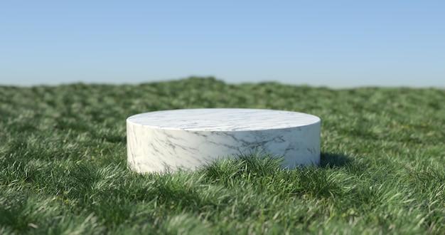 3d-weergave van marmeren podium en gras