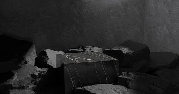 3d-weergave van marmeren podium en steen.