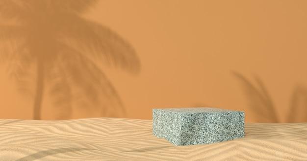 3d-weergave van marmeren podium en zand.
