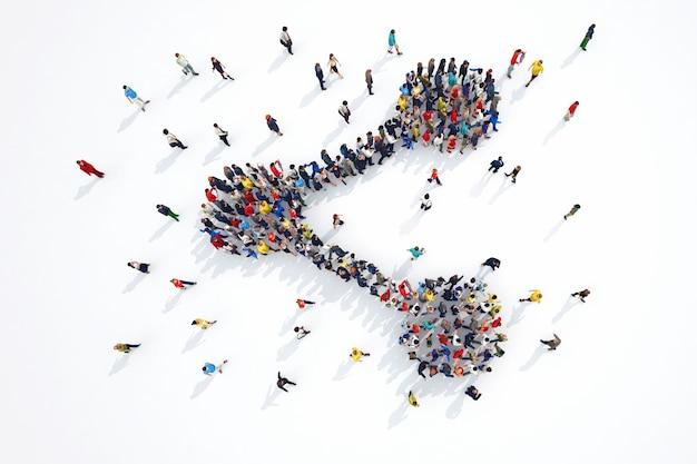 3d-weergave van mensen vormen delen symbool