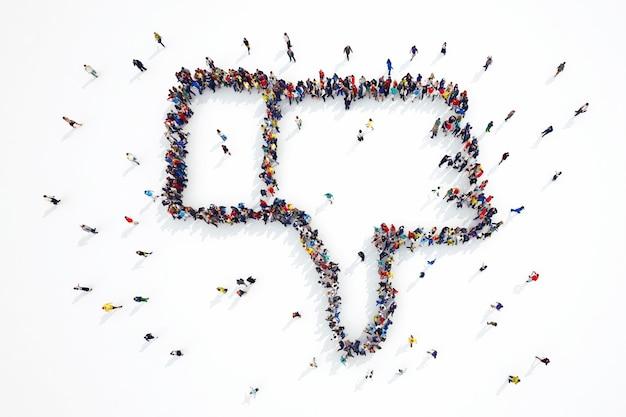 3d-weergave van mensen vormen een hekel aan symbool