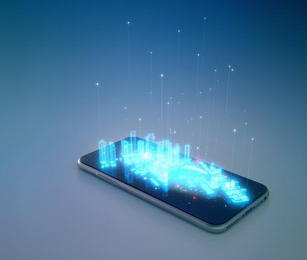 3d-weergave van mobiele telefoon en stedenbouwkundig plan