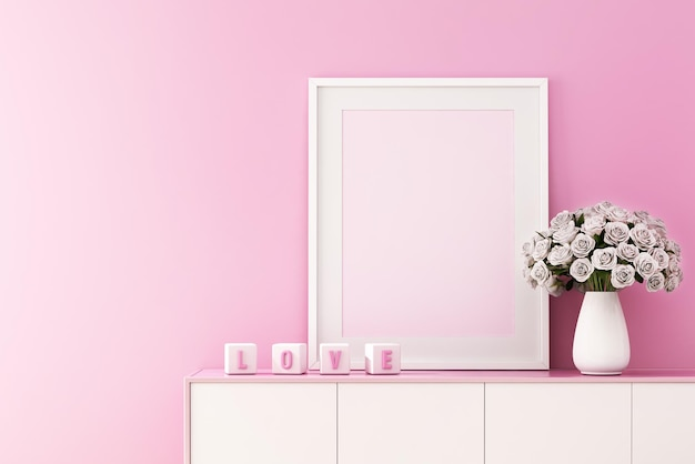 3d-weergave van mock-up interieurontwerp voor woonkamer met fotolijst op roze muur, valentijnsdag achtergrond