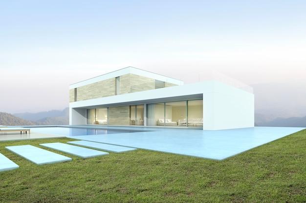 3d-weergave van modern huis met zwembad op bergachtergrond.