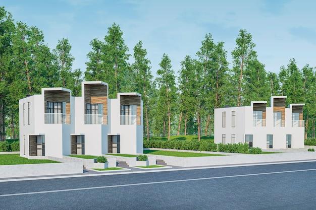 3d-weergave van modern licht herenhuis gezellig huisje te koop of te huur met veel gras op gazon.