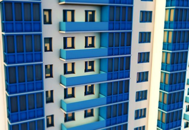 3d-weergave van modern woongebouw met meerdere verdiepingen