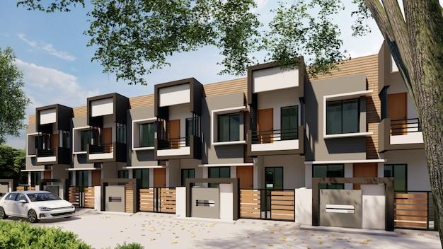 3d-weergave van moderne huizen