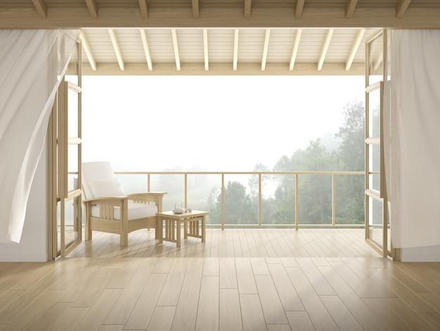 3d-weergave van moderne luxe kamer met houten stoel op boom achtergrond, groot raam en deur.