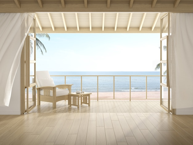 3d-weergave van moderne luxe kamer met houten stoel op zee achtergrond, groot raam en deur.