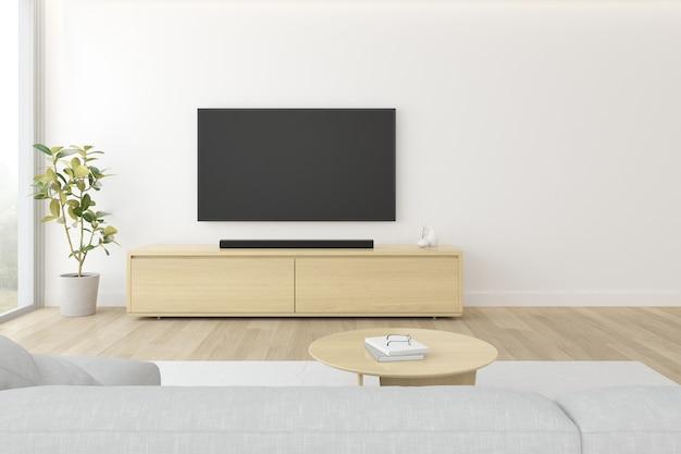 3d-weergave van moderne woonkamer met sofa en hangende televisiescherm op witte muur.