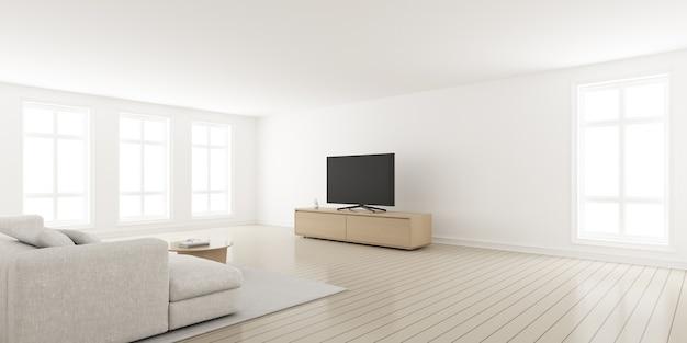 3d-weergave van moderne woonkamer met sofa en televisiescherm op houten kast.