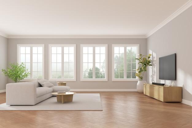 3d-weergave van moderne woonkamer met tv-scherm en bank op de achtergrond van de natuur.