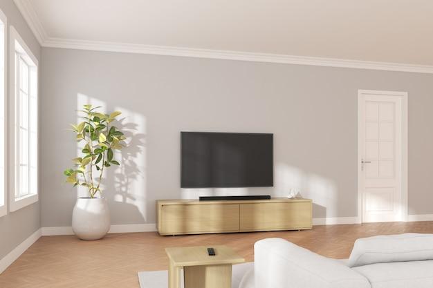 3d-weergave van moderne woonkamer met tv-scherm en bank op grijze muur achtergrond.