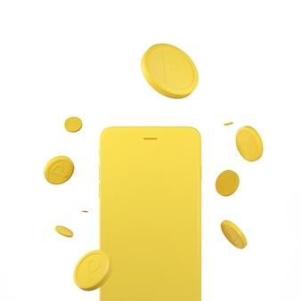 3d-weergave van munten omvallen gele mobiele telefoon