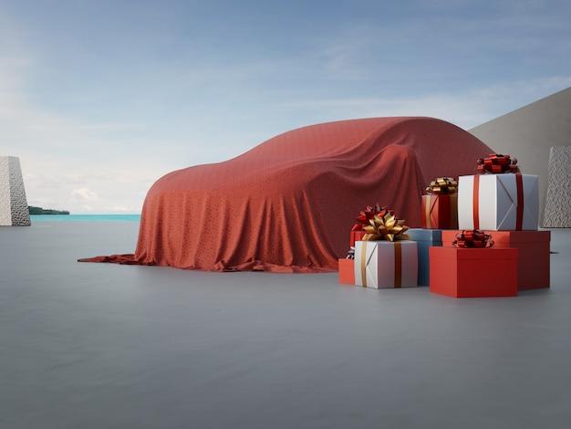 3d-weergave van nieuwe auto bedekt met rode doek